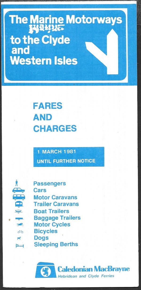 Caledonian MacBrayne - Fares and Charges 1981/3/1 (3/81) - leaflet